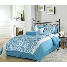 Chezmoi Collection 7pcs Turquoise Blue Safari Zebra Print Comforter Set